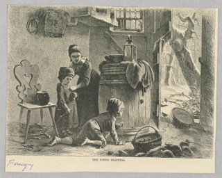 A woman and a child stand near a door while another child crawls across the ground towards the door in front of a large barrel with a lantern and bowl on it.. The crawling child holds a string attached to a trap propped up with crumbs beneath. A bird stands near the crumbs as the child waits to pull the string and trap it.