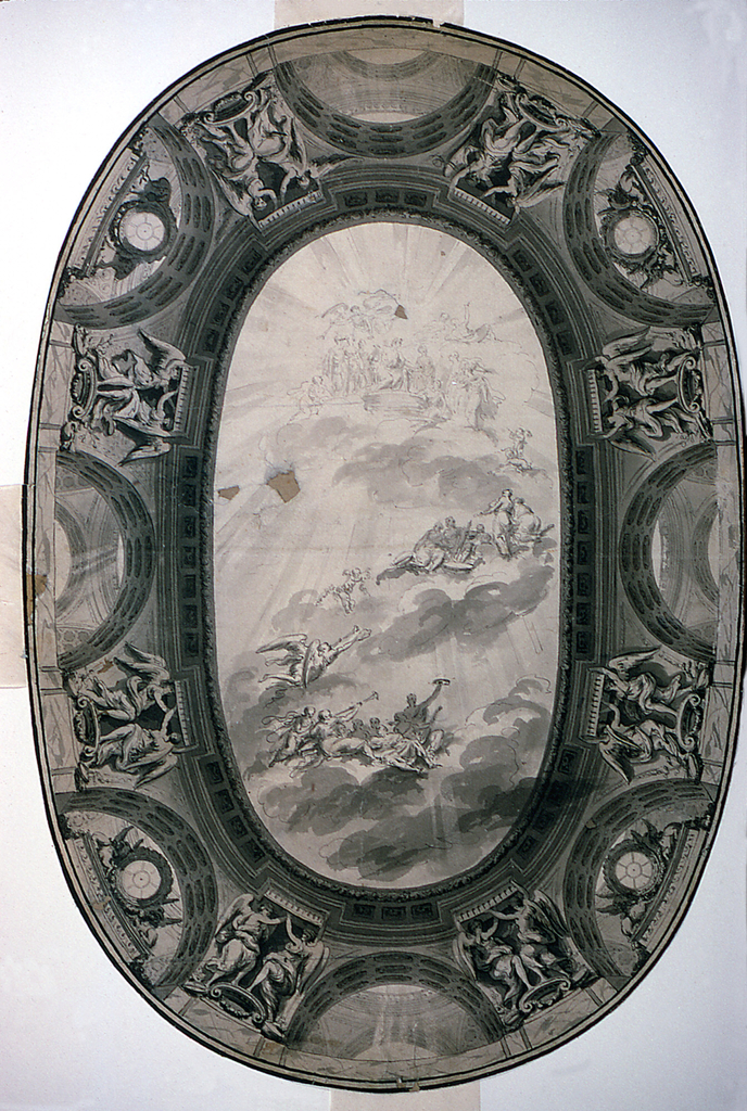 Image of an oval ceiling, without the room setting.  At the center, a view at the sky passing an oval entablature.  In the sky are Apollo, the Muses and genii.  The entablature is supported by arches through which parts of further structures are shown.  In four of the arches stand pedestals with griffins crouching beside a clock-like form.