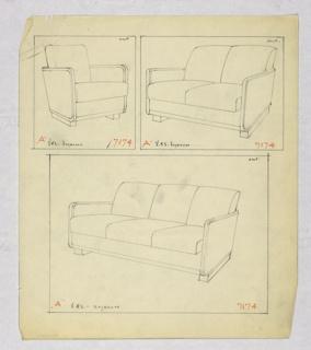 Drawing, Armchair, Loveseat & Sofa