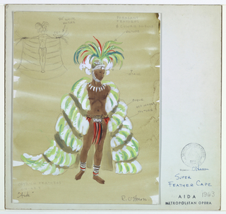 Vertical rectangle. Man in loin clothe, feather cape, headdress, anklets, and necklace. Upper left, pencil sketch with cape held open.