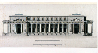 "Elevation of a large horizontal building.  Entrances are in domed pavilions at either end of the building.  Attributes of the Arts are shown in triangular pediments above the entrances.  Four statues of allegorical women flanking the entrances represent possibly the Muses.  The pavilions are connected by a colonnade of embedded Doric columns and a short top story.  In each interval (between the columns) are a two-story window and a regular window.  Circular windows are placed at the basement level, below the colonnade.  Below the rendering are the rule ""12 Toises"" and the scale ""48 modules.""  Inscription on verso."