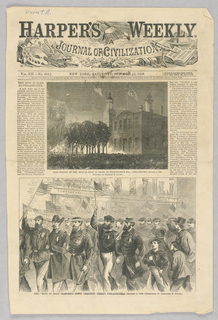 The top illustration shows those who had been members of the volunteer Union army at a meeting in front of Independence Hall in Pennsylvania. The figures are depicted from afar and are very small in front of the facade of the Hall. The bottom illustration shows the former members of the Union army marching down Chesnut street in Philadelphia holding up small American flags.