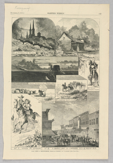 A series of different scenes. On the top left, the vignette shows a city scene of Pittsburg. On the top right, the vignette shows a log cabin on the side of the Neosho river. In the center left, a train speeds across the prairie. Directly below, a vignette shows a figure on a horse herding cattle. To the right, a group of figures ride horses across the prairie. To the far right center, two figures walk side by side, the male figure holding a bunch of dead chickens by the neck. On the bottom left, a family rides horses. To the right, the vignette shows a scene of a street in Parsons city.