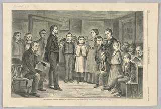 Two men holding books, one sitting and one standing, are in front of a group of students in an American common school. The students stand in a semi-circle around the two men. Behind the students are other adults.
