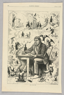 """A drunk man sits at table with a bottle of alcohol and a glass in front of him. Around him are images of the """"bottle imp,"""" scenes in which the bottle at the table has been personified and made human-size. This """"bottle imp"""" is shown wreaking havoc, including committing murder, property destruction, and much more."""