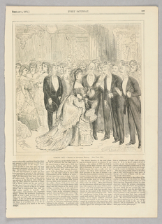 Scene from a debutante ball.  A woman stands at the front of the image surrounded by men.