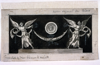 Horizontal composition in which two winged female figures with trumpets/horns hold a swag, each at one end.  Above the swag, at the center of the composition, is a medallion, suspended in the air. It is decorated with a face. The composition is set against a dark background.