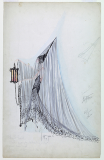 Vertical format. Figure of a woman standing in left profile wearing a tall peaked cone-shaped black hat covered with a veil which covers her entirely and forms a train. She holds a lantern with a long chain. Further headpiece details in pencil at right.