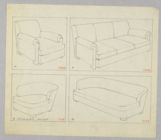 Drawing, Armchair, Two Versions/ S, 1930–1935