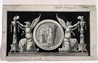 Design for a panel in which the central position is occupied by a large medallion with a scene of sacrifice.  On either side of the medallion, a figure of Victory adorns candelabra.  Composition is set against a dark background.