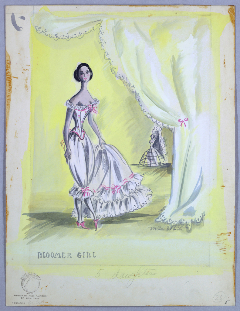 Vertical rectangle. Woman in white undergarments holding petticoat in left hand, standing below a draped curtain. Yellow background.
