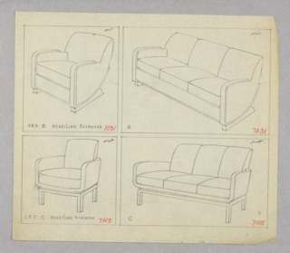 Drawing, Armchair, Two Versions an