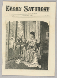 A woman sits at a small table in front of french doors arranging flowers. Through the windows can be seen a peacock and a woman with a girl.
