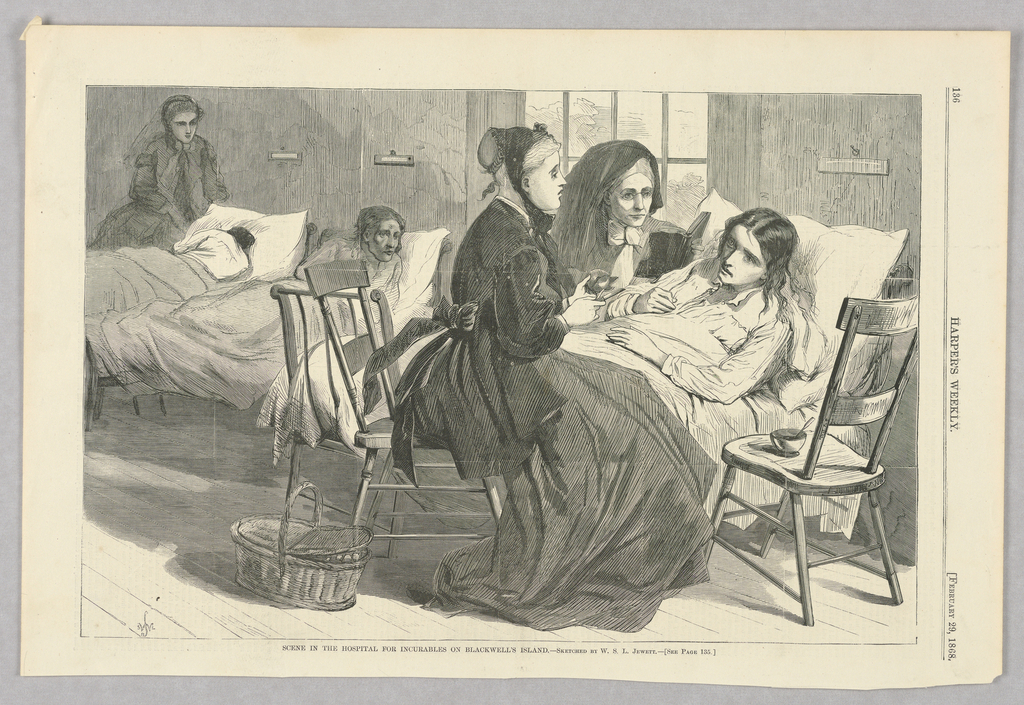 Women sitting at the bedside of a patient in Blackwell Island's Hospital for the Incurables. In the background can be seen other patients in beds.