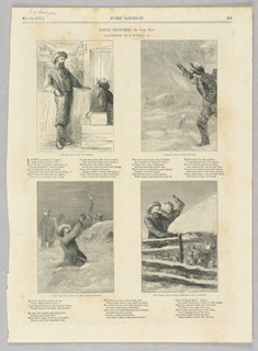 """Four scenes from a poem, """"Little Breeches,"""" by John Hay. On the top left, a standing and sitting man face each other. On the top right, a man raises his hand out against a storm. On the bottom left, a man kneels with his hands raised in pleading, having lost his son, Little Breeches, in the storm.. On the bottom right, the man finds his son among a group of sheep."""