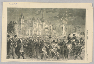 The former volunteer soldiers for the Union army march through the streets of Philadelphia.