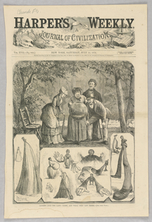 At the top of the illustration, four figures peer into a lawn globe. Scenes at the bottom of the illustration show the distorted images they see in the globe.