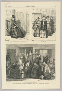 Three scenes showcasing the women's campaign against intemperance. On the top left, a woman writes down the names of the men she sees drinking at a saloon. On the top right, a group of women walk through the street carrying bibles. On the bottom, a group of women plead with a saloon keeper, some kneeling.