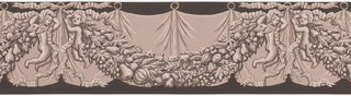 Border consists of simulated drapery in background, with fruit and foliage swag held by putti in front. There is one putto at either end of the swag. Printed in shades of brown on dark brown ground.