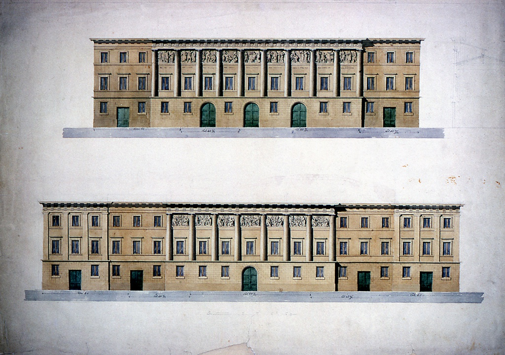Two elevations of long horizontal buildings. Positioned horizontally, one on top of the other; the bottom project suggests a greater length than the top one. The top project has a slightly projecting central section of nine bays and lateral sections of three bays each. The bottom project has a central section of seven bays and pairs of lateral sections of three bays each. In both buildings, the central sections show embedded fluted Doric columns supporting an entablature with triglyph friezes. In each intercolumnar space are a window and a relief depicting classical scenes. The lengths are inscribed in the bases of the buildings. A section, in graphite, beside the top design shows the top story as a sham one. Indication of scale in Palmi beneath each elevation and in lower margin