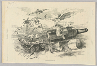 A temperance cartoon.  A figure with cloth drawn over its face rides a bottle of alcohol with wheels made of glasses. These wheels crush people below them. Two figures appear beside the bottle, one with snakes in its hair and on its arms and one naked holding a knife and glass of alcohol with a noose around his neck. The bottle is pulled by three dogs, with collars indicating them as Ruin, Despair, and Famine.