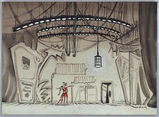 """Drawing, Set Design: Backstage for """"Strip for Action"""""""