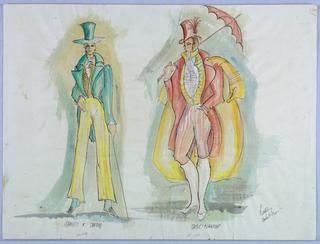 Drawing, Costume Design: Rainiro and Davdini, for Cinderella, 1966