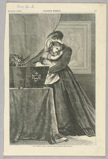 """A woman holds a young child and cries into a handkerchief. She is standing in front of what appears to be a coffin with flowers upon it, presumably that of her husband who was lost at sea (the image is an illustration for the poem """"Toilers of the Sea."""""""