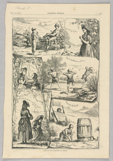 Six scenes of youth. On the top left, a boy blows a dandelion. On the top right, a girl looks for a four leaf clover. On the left center, two girls do the buttercup test. On the center right, three boys run from bugs. On the bottom left, two girls look at a daddy long legs spider. On the bottom right, a boy crouches behind a barrel observing two birds.