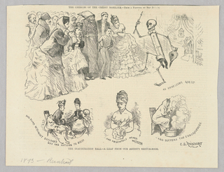 """The upper half of the illustration shows a group of figures staring at a skeleton with a thermometer for a spine. The skeleton holds an arrow in one hand and a fire bellow in the other. In the lower three scenes, a woman converses with another woman about what she should wear in the left scene, decides to wear what the artist calls """"nothing,"""" but appears to be a dress with a wide neckline in the center scene, and, in the right scene, has caught a cold from her choice and is wrapped in a blanket soaking her feet in hot water. She can be seen shivering in the above scene that shows the ball."""