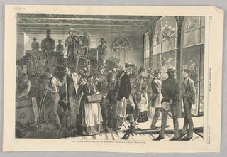 On the right, figures board a steam boat. On the left are horse drawn carriages and workers moving luggage.