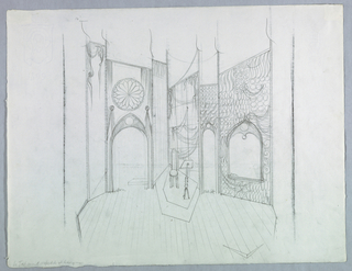 """Horizontal rectangle. At center stage, a platform with straight-backed chair and lectern. To the left, an entrance with gothic arch, rose window above. Inscribed at base of entrance: """"Scrim."""" To the right, a narrow entrance, inscribed at base: """"Black felt."""" Far right, a wide gothic window, inscribed at base: """"Scrim."""""""