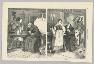 In the illustration on the left, a friar sits at a table with a bottle of wine and glass on it beside two pitchers and dishes. Two other figures are to the left of the table, one raising his hat with his left hand as he embraces the other, who has her head turned in the direction of the friar. In the illustration on the right are three figures. A man sits at a table holding up a glass. To his left is a woman and to his right a man enters through an open door with a dog behind him.