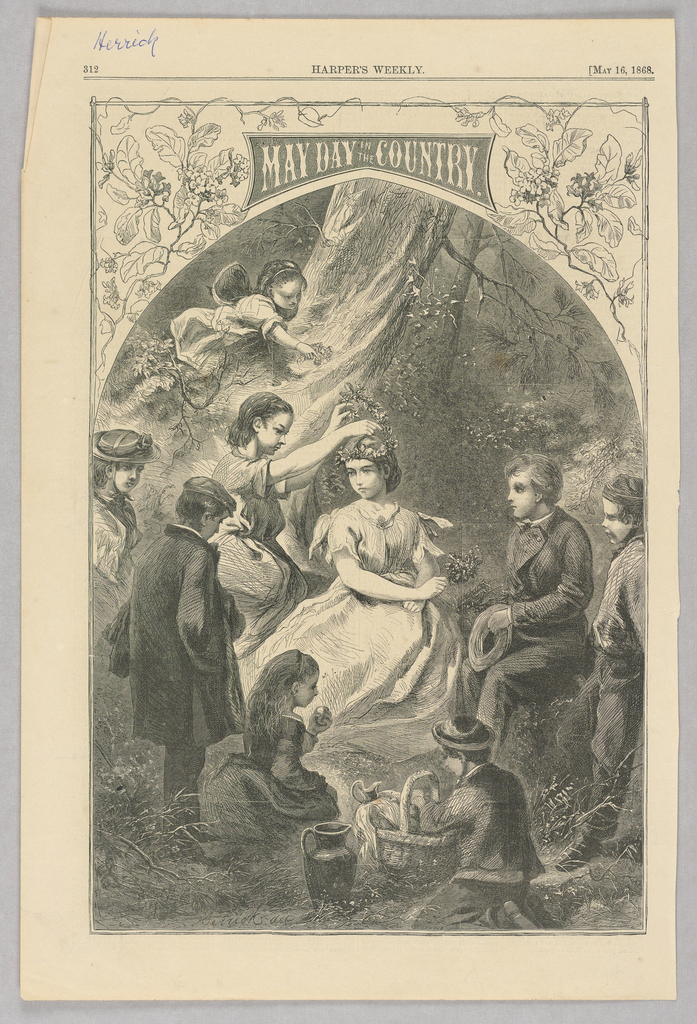 May-day scene. In the center, a young girl places a flower crown on another girl's head. Other children are gathered around.