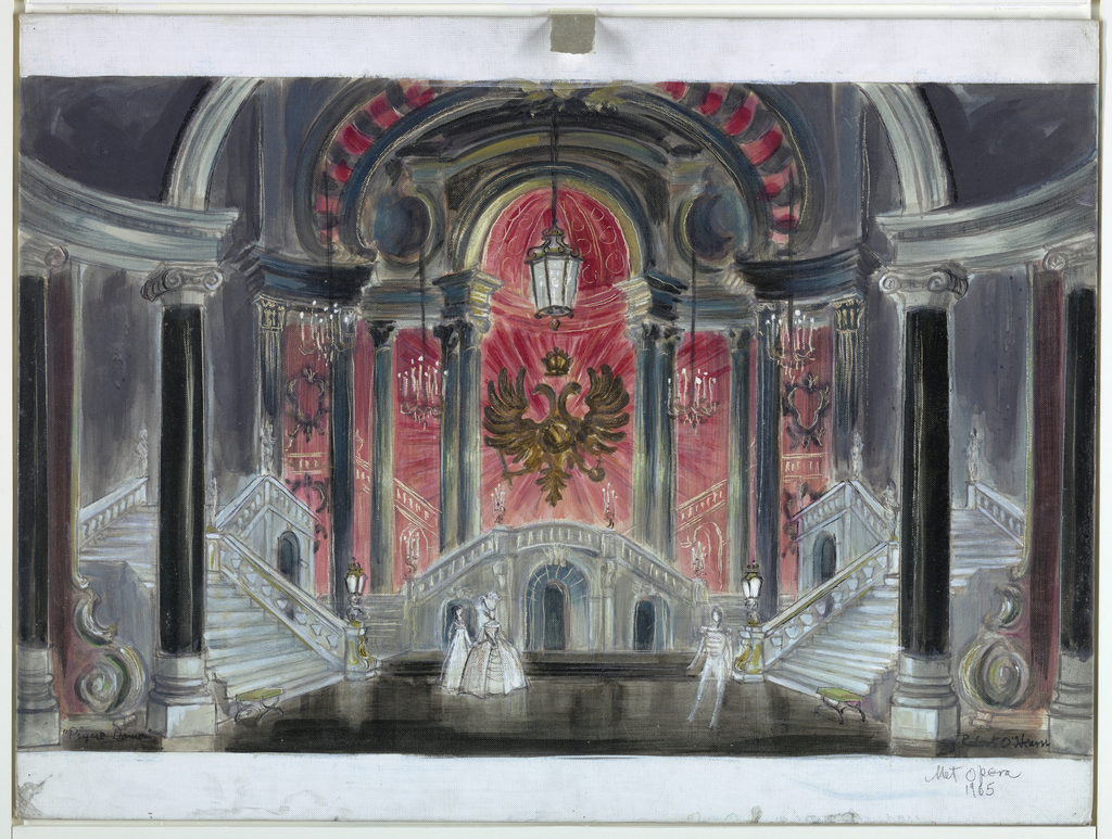Horizontal rectangle. Two grand staircases, left and right, lead down to a large columned room. Double eagle at center background. Left foreground, two female figures; right foreground, male figure.