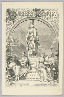 Front page of 1872 volume of Harper's Weekly. Statue with two women sitting on pedestal. Landscape in background.