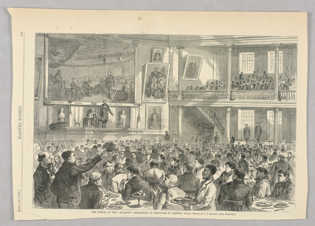 Faneuil Hall packed with survivors of the SS  Atlantic's shipwreck in 1873.