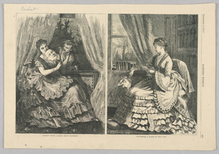 On the left, a woman sits inside in a large ruffled and layered dress holding a mask up that bears the face of an old man. A  man leans through the window beside her. On the right, the woman no longer holds the mask up, and there is no man in the window. The mask is broken at the top.