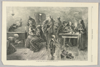 Scene of an Irish wake. On the left, a woman leans over the coffin which has a candle on it. Figures to the right of the coffin wail in grief. On the right, figures sit at at table smoking and drinking.