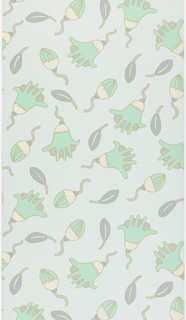 Fanciful organic shapes, printed in shades of green and white, on a light green ground. The large floral motif has a hand-like appearance.