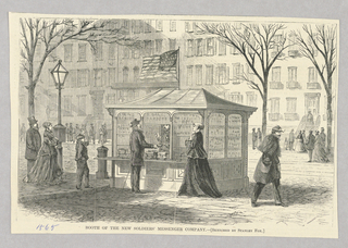 Soldier messenger booth on a street corner. Soldier messenger booths, which served as an advertising medium and as a shop for newspapers and magazines as well as as a depot for the delivery of messages and parcels, were set up as a place for soldiers injured in war to work. A group of figures line up to get their messages or parcels.