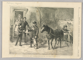 A man with a horse and cart behind him hands a dead fowl to a family standing in their doorway. In his other hand, he holds another dead bird and behind him are gourds and a basket of vegetables.