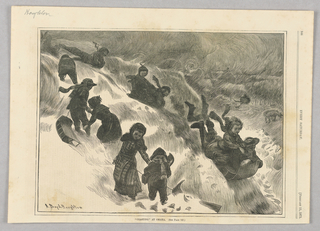 Several children tobogganing down a small slope.
