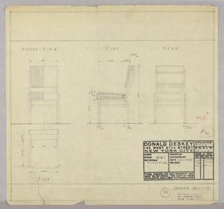 Drawing, Sidechair, 1931–1932