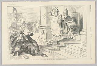 A roman catholic priest, perhaps the pope, stands on steps throwing arrows at cowering figures below while inscriptions around him proclaim the power of the Roman Catholic Church in America. Behind the priest is a man sitting in an ornate chair with bags, presumably of money, beside him.