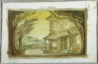 "Drawing, Set Designs: Lola Pratt's House for ""Seventeen"""