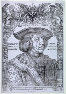 Portrait of Holy Roman Emperor Maximilian I with an ornamental border by Hans Weiditz.