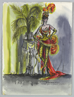 Vertical rectangle. Woman in spotted lime-colored tights, draped with red feathered headdress, leaning on table with potted palm.