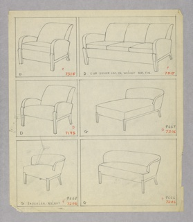 Drawing, Armchair, Three Versions/
