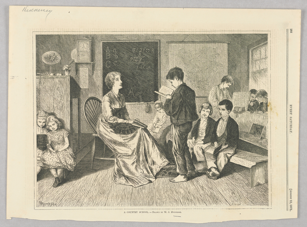 Scene from a country school. A boy stands in front of his female teacher reading from a book while students sit on either side. In the background is a blackboard with letters and numbers on it.